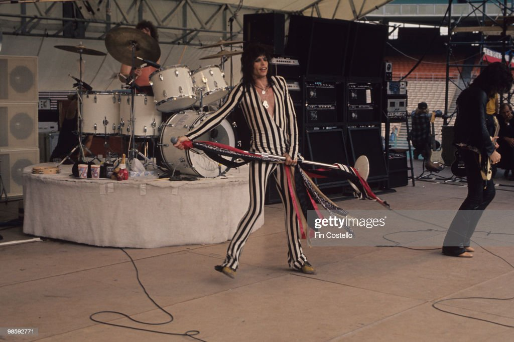 Joey Kramer Steven Tyler and Joe Perry of Aerosmith perform on stage at the RFK Stadium in Washington DC on May 30 1976