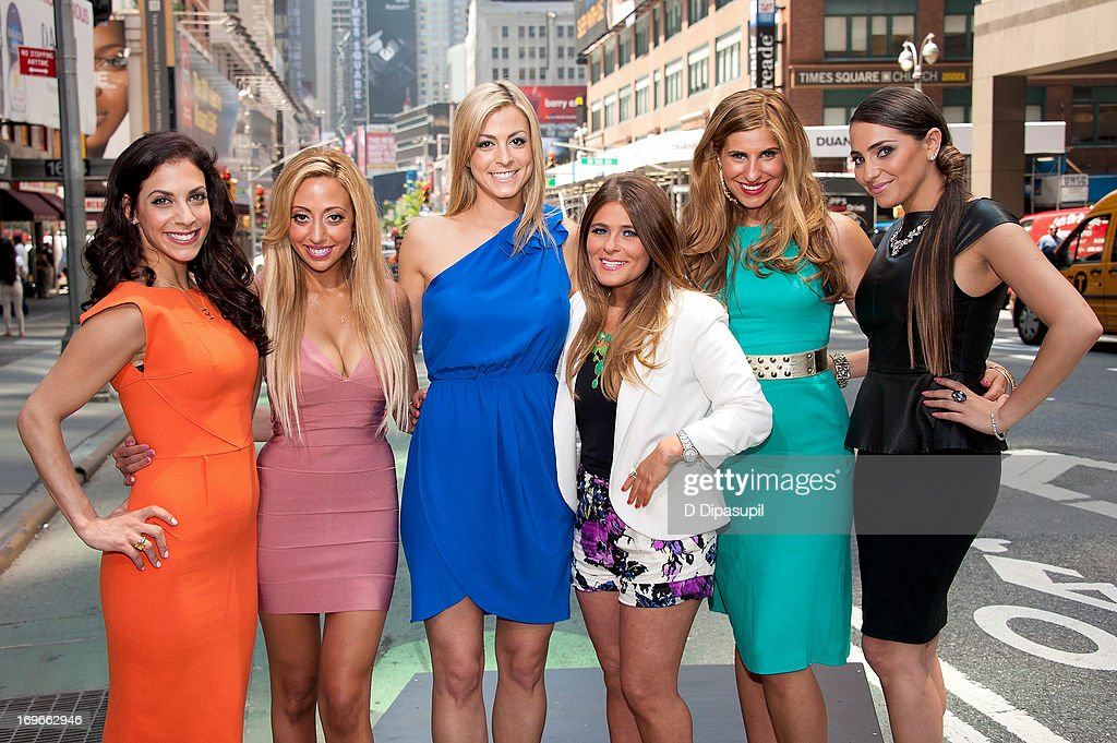 Joey Lauren, Amanda Bertoncini, Casey Cohen, Ashlee White, Chanel 'Coco' Omari, and Erica Gimbel of 'The Princesses Of Long Island' visit 'Extra' in Times Square on May 30, 2013 in New York City.