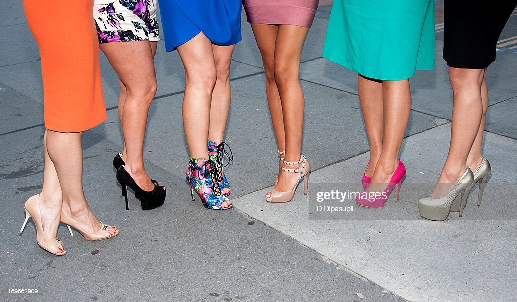 Joey Lauren, Ashlee White, Casey Cohen, Amanda Bertoncini, Chanel 'Coco' Omari, and Erica Gimbel (shoe detail) of 'The Princesses Of Long Island' visit 'Extra' in Times Square on May 30, 2013 in New York City.