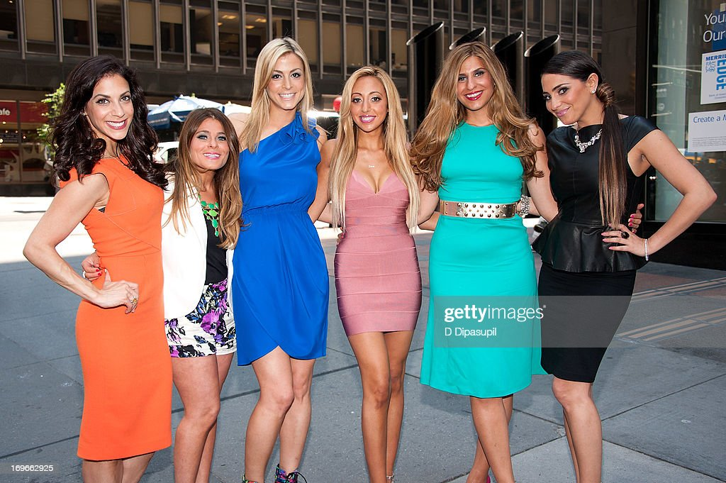 Joey Lauren, Ashlee White, Casey Cohen, Amanda Bertoncini, Chanel 'Coco' Omari, and Erica Gimbel of 'The Princesses Of Long Island' visit 'Extra' in Times Square on May 30, 2013 in New York City.