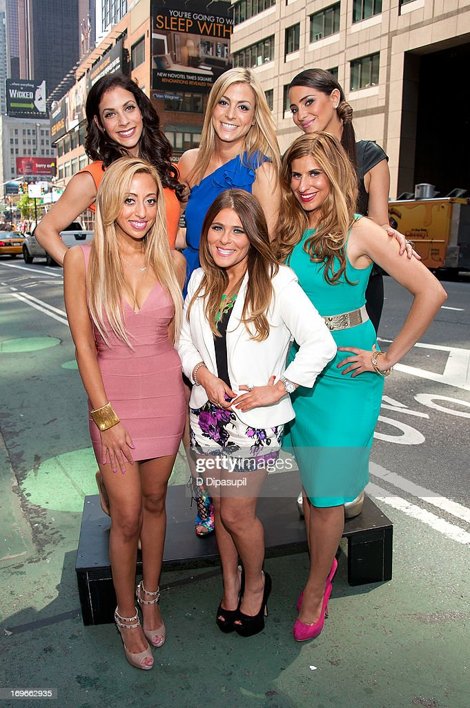 Joey Lauren, Casey Cohen, Erica Gimbel, (L-R) front) Amanda Bertoncini, Ashlee White, and Chanel 'Coco' Omari of 'The Princesses Of Long Island' visit 'Extra' in Times Square on May 30, 2013 in New York City.