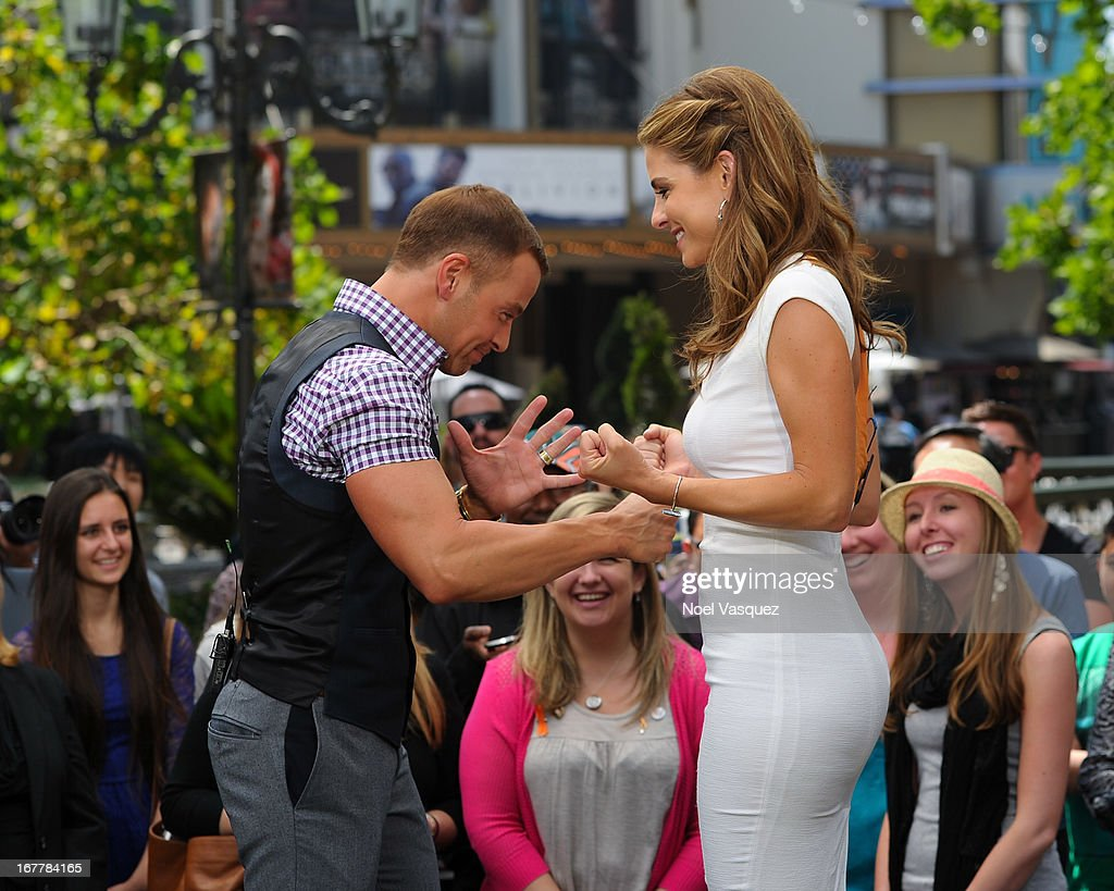 Joey Lawrence (L) and Maria Menounos visit 'Extra' at The Grove on April 29, 2013 in Los Angeles, California.