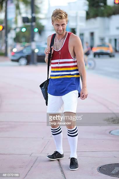 Joey Lawrence is seen wearing vintage top during Miami Swim Week on July 19 2015 in Miami Beach Florida