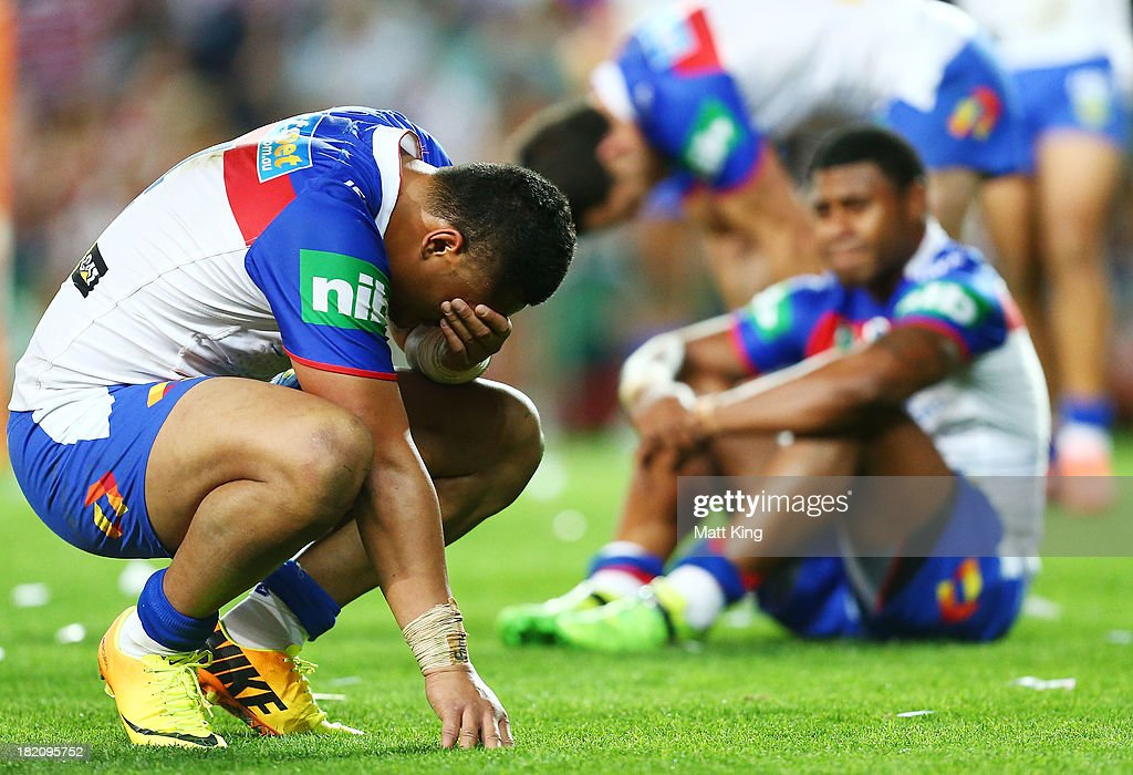 Joey Leilua of the Knights looks dejected at fulltime during the NRL Preliminary Final match between the Sydney Roosters and the Newcastle Knights at Allianz Stadium on September 28, 2013 in Sydney, Australia.