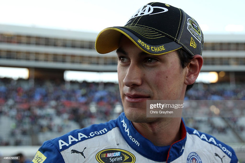 Joey Logano, driver of the #22 AAA Insurance Ford, reacts after the NASCAR Sprint Cup Series AAA Texas 500 at Texas Motor Speedway on November 8, 2015 in Fort Worth, Texas.