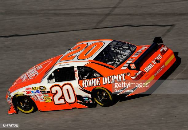 Joey Logano driver of the Home Depot Toyota drives during practice for the Budweiser Shootout at Daytona International Speedway on February 6 2008 in...