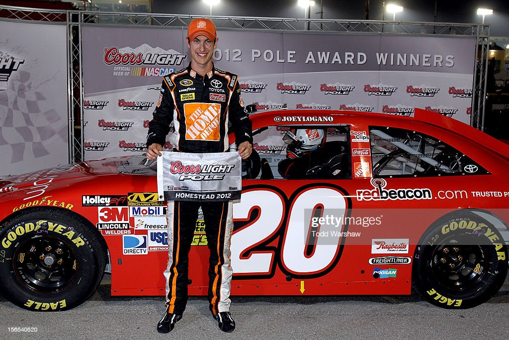 <a gi-track='captionPersonalityLinkClicked' href=/galleries/search?phrase=Joey+Logano&family=editorial&specificpeople=4510426 ng-click='$event.stopPropagation()'>Joey Logano</a>, driver of the #20 Home Depot/redbeacon.com Toyota, poses after qualifying for the pole position in the NASCAR Sprint Cup Series Ford EcoBoost 400 at Homestead-Miami Speedway on November 16, 2012 in Homestead, Florida.