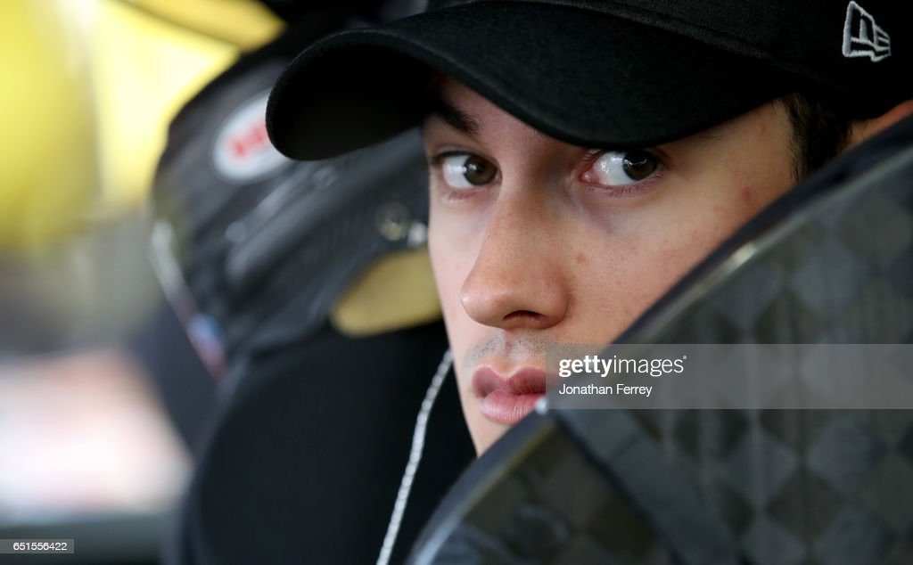 Joey Logano, driver of the #22 Pennzoil Ford, sits in his car during practice for the Monster Energy NASCAR Cup Series Kobalt 400 at Las Vegas Motor Speedway on March 10, 2017 in Las Vegas, Nevada.
