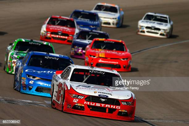 Joey Logano driver of the REV Ford leads the field during the NASCAR XFINITY Series Boyd Gaming 300 at Las Vegas Motor Speedway on March 11 2017 in...
