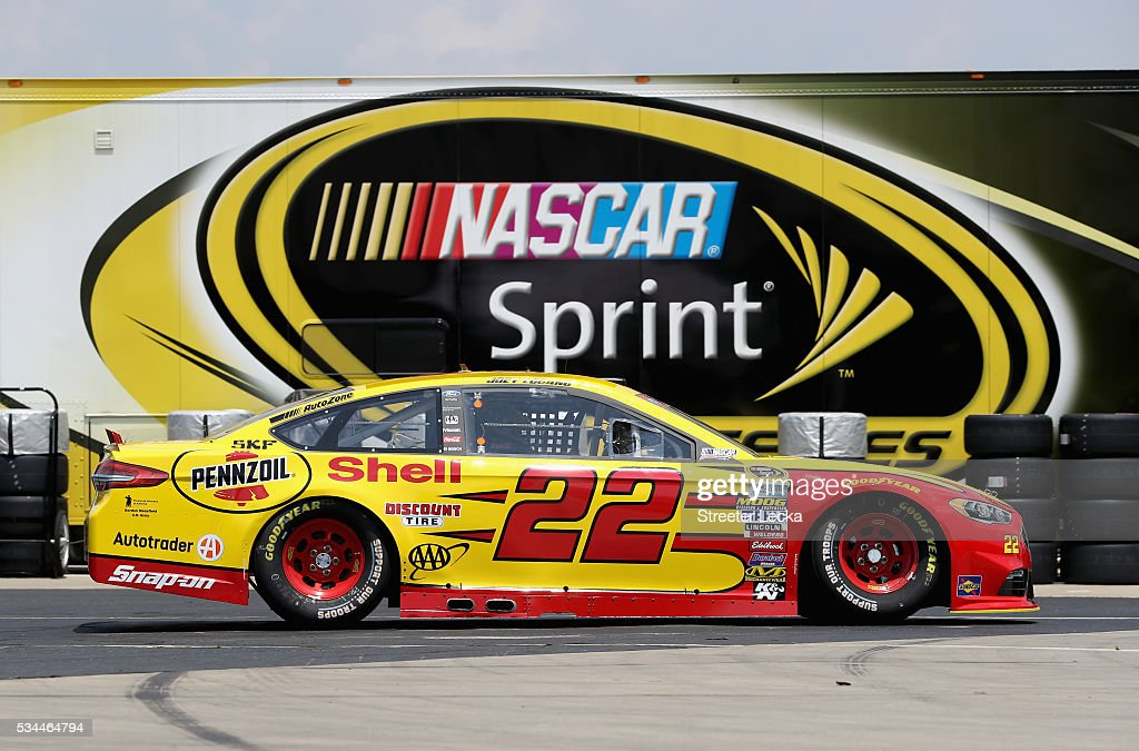 <a gi-track='captionPersonalityLinkClicked' href=/galleries/search?phrase=Joey+Logano&family=editorial&specificpeople=4510426 ng-click='$event.stopPropagation()'>Joey Logano</a>, driver of the #22 Shell Pennzoil Ford, drives through the garage area during practice for the NASCAR Sprint Cup Series Coca-Cola 600 at Charlotte Motor Speedway on May 27, 2016 in Charlotte, North Carolina.