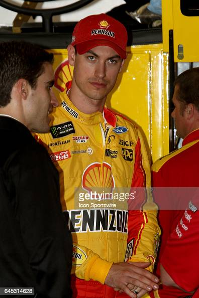 Joey Logano driver of the Shell Pennzoil Ford during practice for the NASCAR Monster Energy Cup Series Daytona 500 on February 25 at Daytona...