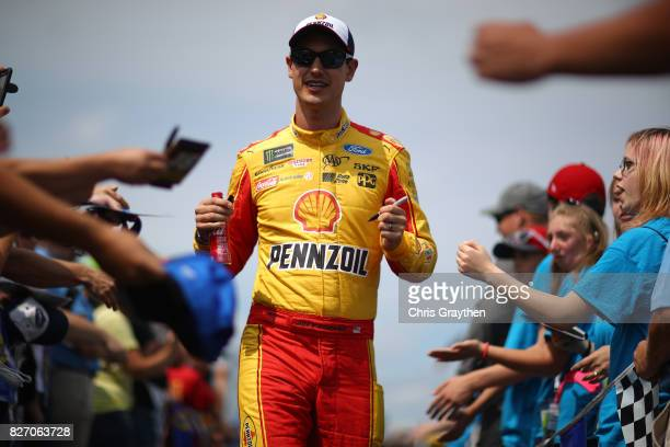 Joey Logano driver of the Shell Pennzoil Ford is introduced prior to the Monster Energy NASCAR Cup Series I Love NY 355 at The Glen at Watkins Glen...