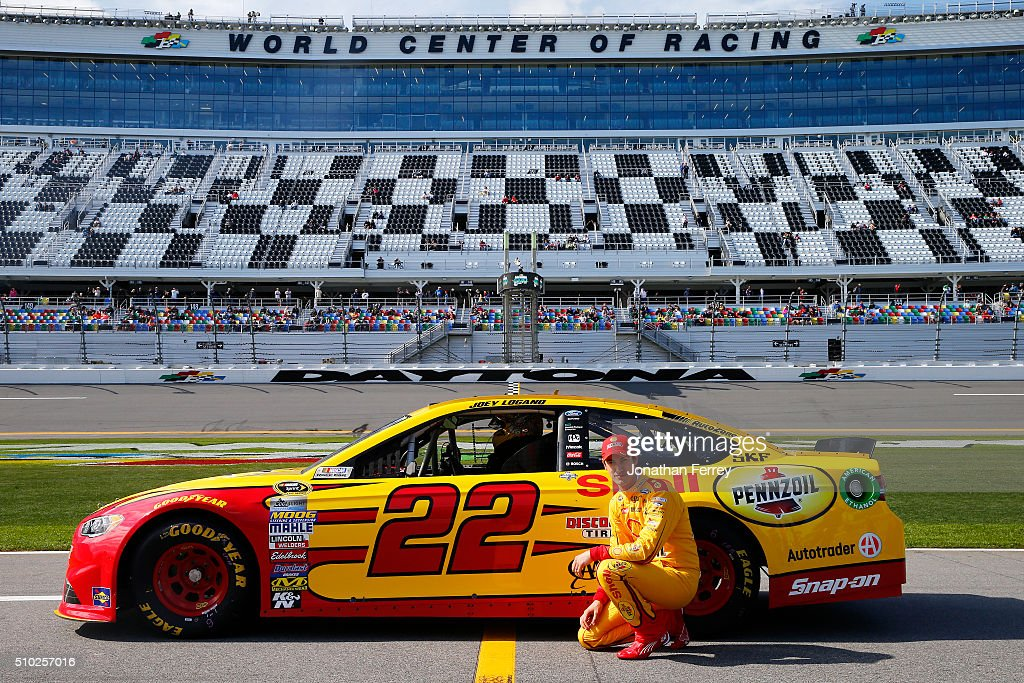 <a gi-track='captionPersonalityLinkClicked' href=/galleries/search?phrase=Joey+Logano&family=editorial&specificpeople=4510426 ng-click='$event.stopPropagation()'>Joey Logano</a>, driver of the #22 Shell Pennzoil Ford, poses with his car after qualifying for the NASCAR Sprint Cup Series Daytona 500 at Daytona International Speedway on February 14, 2016 in Daytona Beach, Florida.