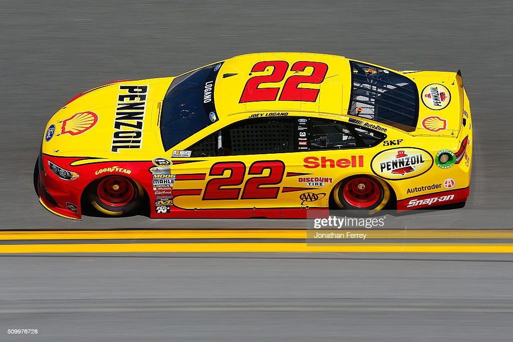 <a gi-track='captionPersonalityLinkClicked' href=/galleries/search?phrase=Joey+Logano&family=editorial&specificpeople=4510426 ng-click='$event.stopPropagation()'>Joey Logano</a>, driver of the #22 Shell Pennzoil Ford, practices for the NASCAR Sprint Cup Series Daytona 500 at Daytona International Speedway on February 13, 2016 in Daytona Beach, Florida.