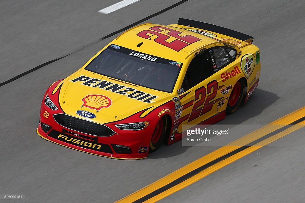 <a gi-track='captionPersonalityLinkClicked' href=/galleries/search?phrase=Joey+Logano&family=editorial&specificpeople=4510426 ng-click='$event.stopPropagation()'>Joey Logano</a>, driver of the #22 Shell Pennzoil Ford, practices for the NASCAR Sprint Cup Series GEICO 500 at Talladega Superspeedway on April 29, 2016 in Talladega, Alabama.