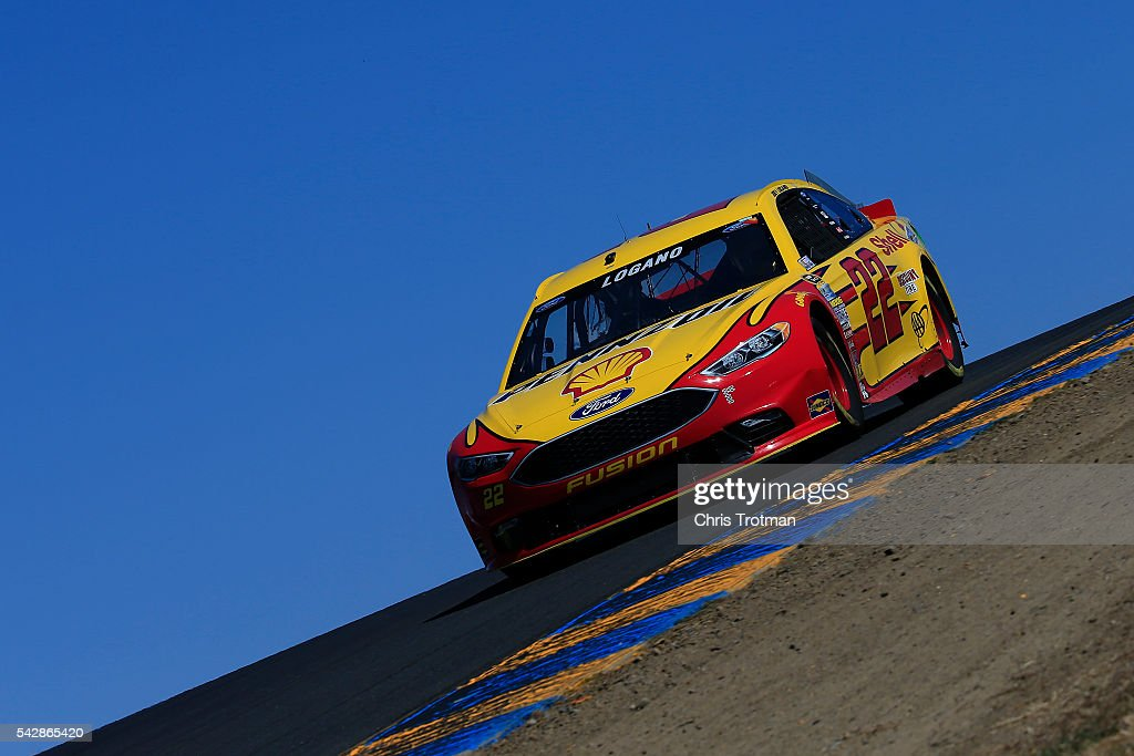 <a gi-track='captionPersonalityLinkClicked' href=/galleries/search?phrase=Joey+Logano&family=editorial&specificpeople=4510426 ng-click='$event.stopPropagation()'>Joey Logano</a>, driver of the #22 Shell Pennzoil Ford, practices for the NASCAR Sprint Cup Series Toyota/Save Mart 350 at Sonoma Raceway on June 24, 2016 in Sonoma, California.