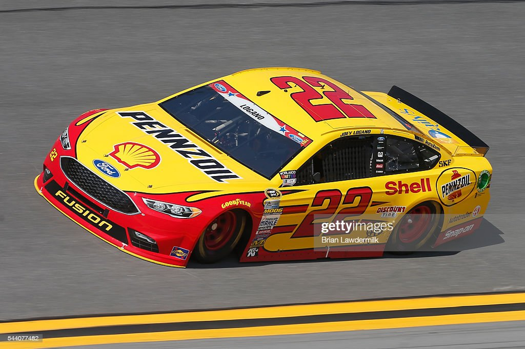 Joey Logano, driver of the #22 Shell Pennzoil Ford, practices for the NASCAR Sprint Cup Series Coke Zero 400 at Daytona International Speedway on July 1, 2016 in Daytona Beach, Florida.