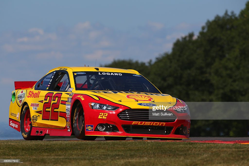 Joey Logano driver of the Shell Pennzoil Ford races during the NASCAR Sprint Cup Series CheezIt 355 at the Glen at Watkins Glen International on...