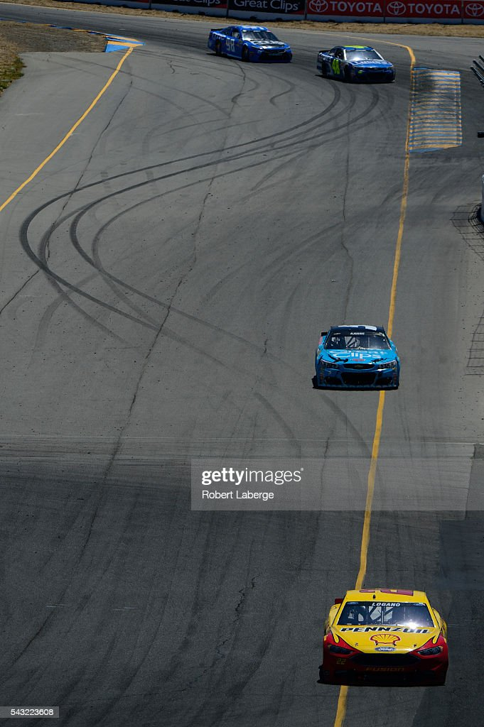 <a gi-track='captionPersonalityLinkClicked' href=/galleries/search?phrase=Joey+Logano&family=editorial&specificpeople=4510426 ng-click='$event.stopPropagation()'>Joey Logano</a>, driver of the #22 Shell Pennzoil Ford, races during the NASCAR Sprint Cup Series Toyota/Save Mart 350 at Sonoma Raceway on June 26, 2016 in Sonoma, California.