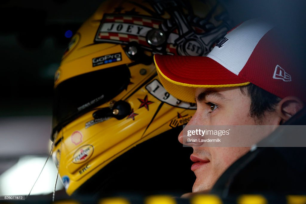 <a gi-track='captionPersonalityLinkClicked' href=/galleries/search?phrase=Joey+Logano&family=editorial&specificpeople=4510426 ng-click='$event.stopPropagation()'>Joey Logano</a>, driver of the #22 Shell Pennzoil Ford, sits in his car during practice for the NASCAR Sprint Cup Series GEICO 500 at Talladega Superspeedway on April 29, 2016 in Talladega, Alabama.