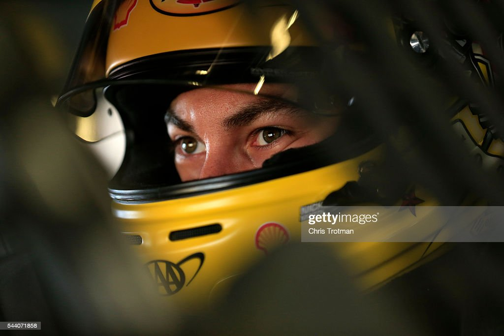 <a gi-track='captionPersonalityLinkClicked' href=/galleries/search?phrase=Joey+Logano&family=editorial&specificpeople=4510426 ng-click='$event.stopPropagation()'>Joey Logano</a>, driver of the #22 Shell Pennzoil Ford, sits in his car during practice for the NASCAR Sprint Cup Series Coke Zero 400 at Daytona International Speedway on July 1, 2016 in Daytona Beach, Florida.