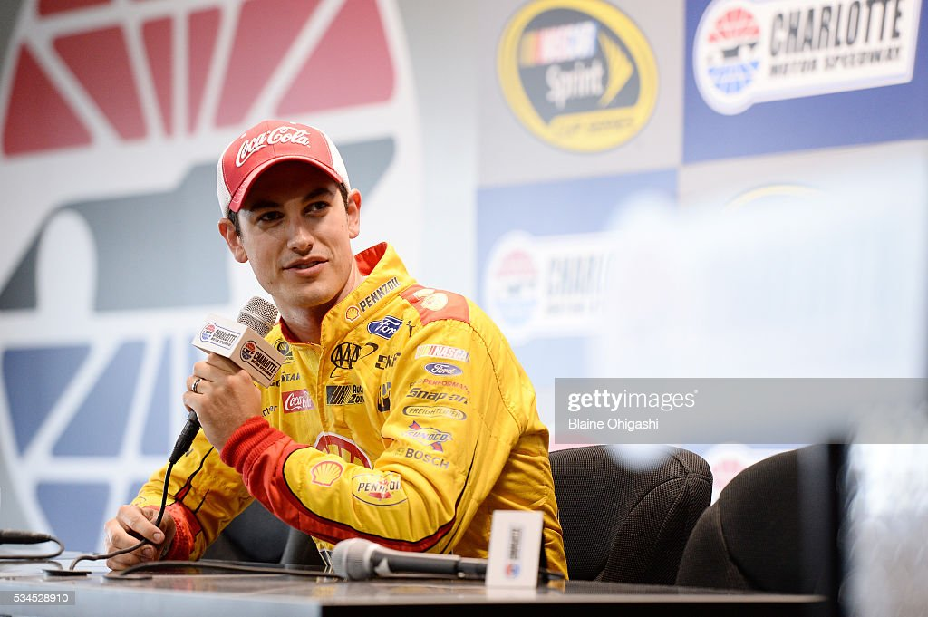 <a gi-track='captionPersonalityLinkClicked' href=/galleries/search?phrase=Joey+Logano&family=editorial&specificpeople=4510426 ng-click='$event.stopPropagation()'>Joey Logano</a>, driver of the #22 Shell Pennzoil Ford, speaks in a press conference during practice for the NASCAR Sprint Cup Series Coca-Cola 600 at Charlotte Motor Speedway on May 27, 2016 in Charlotte, North Carolina.