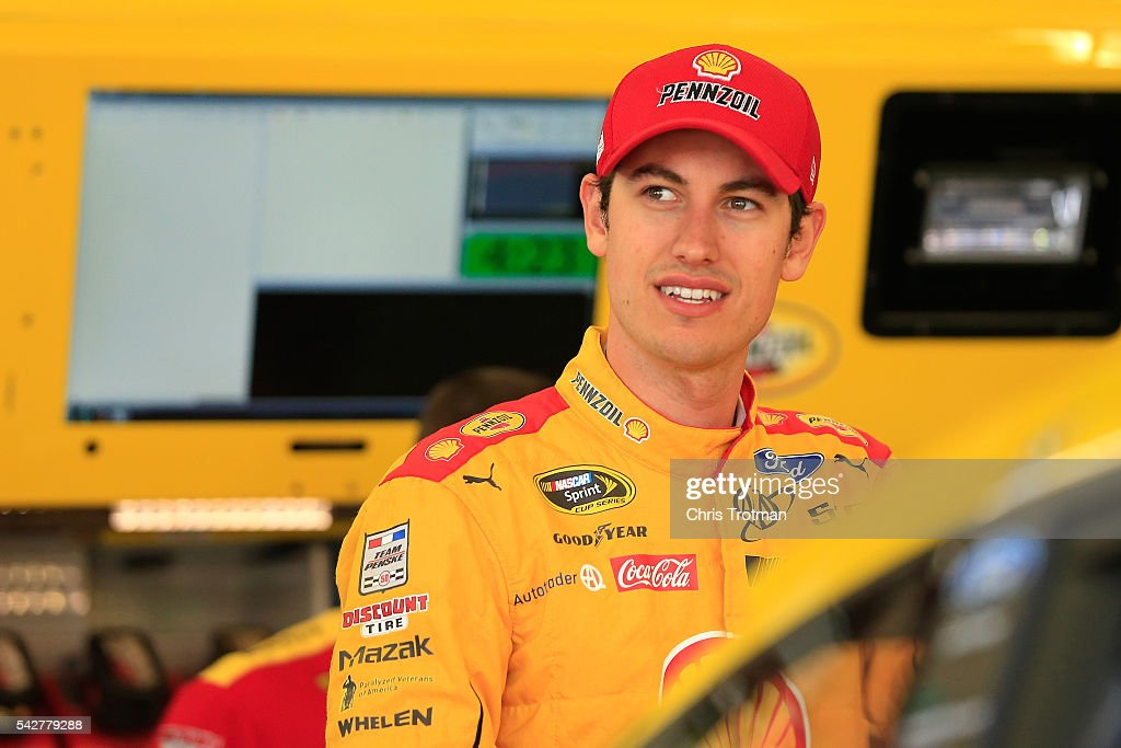 <a gi-track='captionPersonalityLinkClicked' href=/galleries/search?phrase=Joey+Logano&family=editorial&specificpeople=4510426 ng-click='$event.stopPropagation()'>Joey Logano</a>, driver of the #22 Shell Pennzoil Ford, stands in the garage area during practice for the NASCAR Sprint Cup Series Toyota/Save Mart 350 at Sonoma Raceway on June 24, 2016 in Sonoma, California.