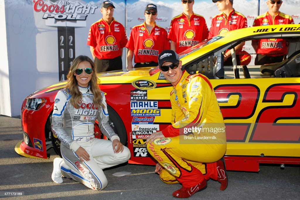 Joey Logano, driver of the #22 Shell-Pennzoil Ford, will start on the pole after turning the fastest lap during qualifying for the NASCAR Sprint Cup Series Kobalt 400 at Las Vegas Motor Speedway on March 7, 2014 in Las Vegas, Nevada.