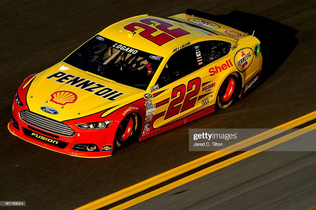 Joey Logano, driver of the #22 Shell-Pennzoil/AAA Ford, during practice for the NASCAR Sprint Cup Series Daytona 500 at Daytona International Speedway on February 16, 2013 in Daytona Beach, Florida