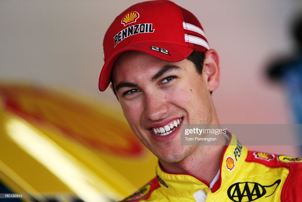 <a gi-track='captionPersonalityLinkClicked' href=/galleries/search?phrase=Joey+Logano&family=editorial&specificpeople=4510426 ng-click='$event.stopPropagation()'>Joey Logano</a>, driver of the #22 Shell-Pennzoil/AAA Ford, looks on during practice for the NASCAR Sprint Cup Series Daytona 500 at Daytona International Speedway on February 23, 2013 in Daytona Beach, Florida.