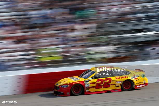 Joey Logano drives the Shell Pennzoil Ford during the Monster Energy NASCAR Cup Series Toyota Owners 400 at Richmond International Raceway on April...