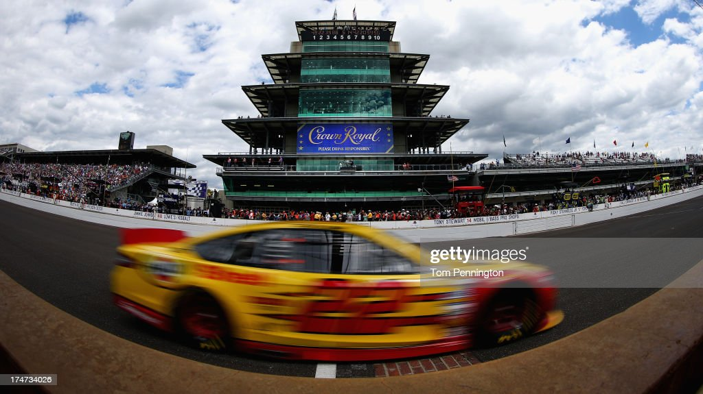 Joey Logano drives the #22 Shell-Pennzoil Ford during the NASCAR Sprint Cup Series Samuel Deeds 400 At The Brickyard at Indianapolis Motor Speedway on July 28, 2013 in Indianapolis, Indiana.