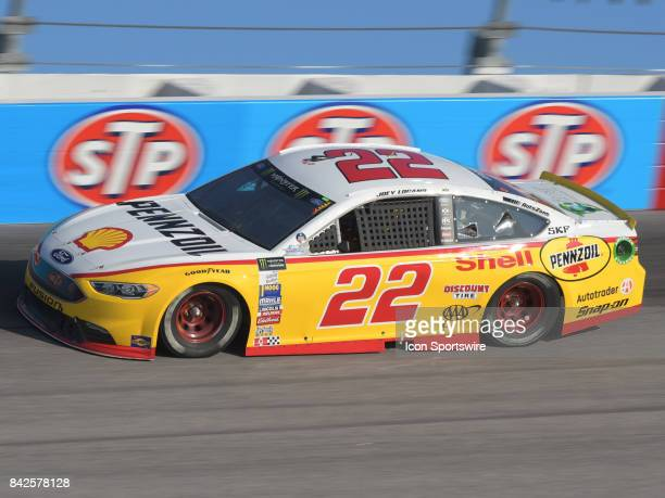 Joey Logano Penske Racing Shell Pennzoil Ford Fusion races through the turns during the NASCAR Monster Energy Cup Series Bojangles Southern 500 on...