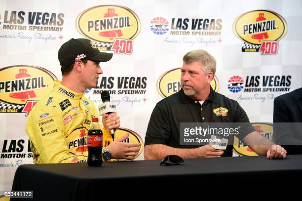 Joey Logano Team Penske Ford Fusion and Rusty Barron Vice President Shell Lubricants Americas announce the new sponsorship and Pennzoil 400 race for...