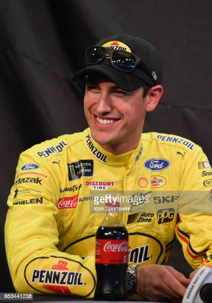 Joey Logano Team Penske Ford Fusion announce the new sponsorship and Pennzoil 400 race for 2018 at LVMS on Stratosphere Pole Day for the Kobalt 400...