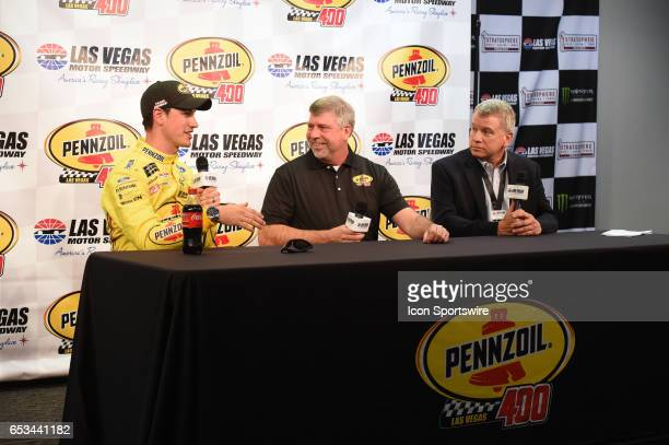 Joey Logano Team Penske Ford Fusion Rusty Barron Vice President Shell Lubricants Americas and Chris Powell LVMS President and General Manager...