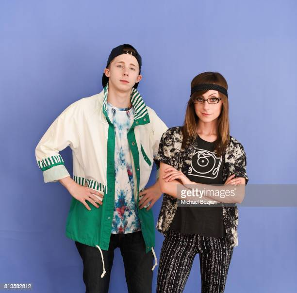 Joey Luthman and Allisyn Ashley Arm pose for portrait at New Faces At The Artists Project on July 12 2017 in Los Angeles California