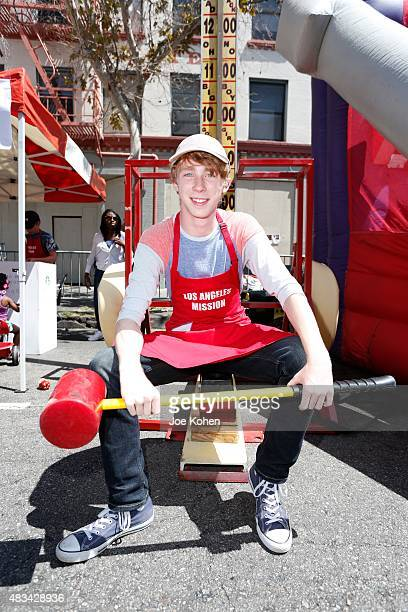 Joey Luthman attends the Los Angeles Mission's End Of Summer Block Party Time To Enjoy Being A Kid at Los Angeles Mission on August 8 2015 in Los...