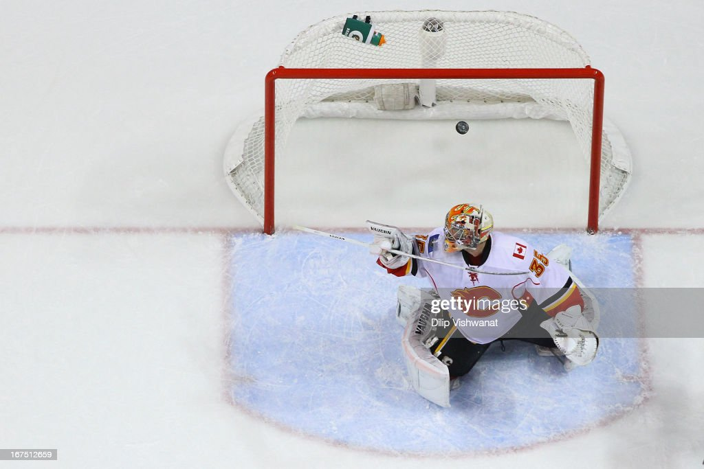 <a gi-track='captionPersonalityLinkClicked' href=/galleries/search?phrase=Joey+MacDonald&family=editorial&specificpeople=2234367 ng-click='$event.stopPropagation()'>Joey MacDonald</a> #35 of the Calgary Flames allows a goal against the St. Louis Blues during the first period at the Scottrade Center on April 25, 2013 in St. Louis, Missouri. The Blues beat the Flames 4-1.
