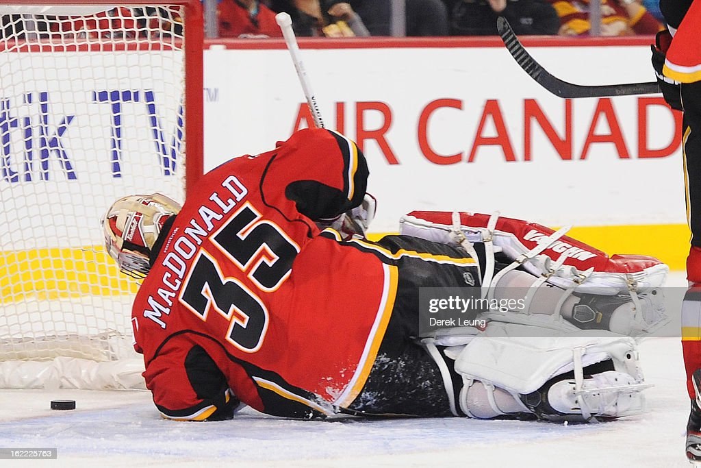 <a gi-track='captionPersonalityLinkClicked' href=/galleries/search?phrase=Joey+MacDonald&family=editorial&specificpeople=2234367 ng-click='$event.stopPropagation()'>Joey MacDonald</a> #35 of the Calgary Flames looks back at the puck after being scored on by Jeff Carter (not pictured) of the Los Angeles Kings during an NHL game at Scotiabank Saddledome on February 20, 2013 in Calgary, Alberta, Canada.