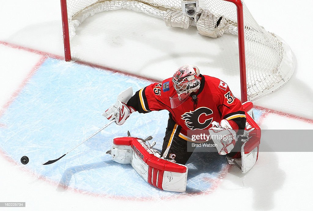 <a gi-track='captionPersonalityLinkClicked' href=/galleries/search?phrase=Joey+MacDonald&family=editorial&specificpeople=2234367 ng-click='$event.stopPropagation()'>Joey MacDonald</a> #35 of the Calgary Flames makes a save against the Los Angeles Kings on February 20, 2013 at the Scotiabank Saddledome in Calgary, Alberta, Canada.