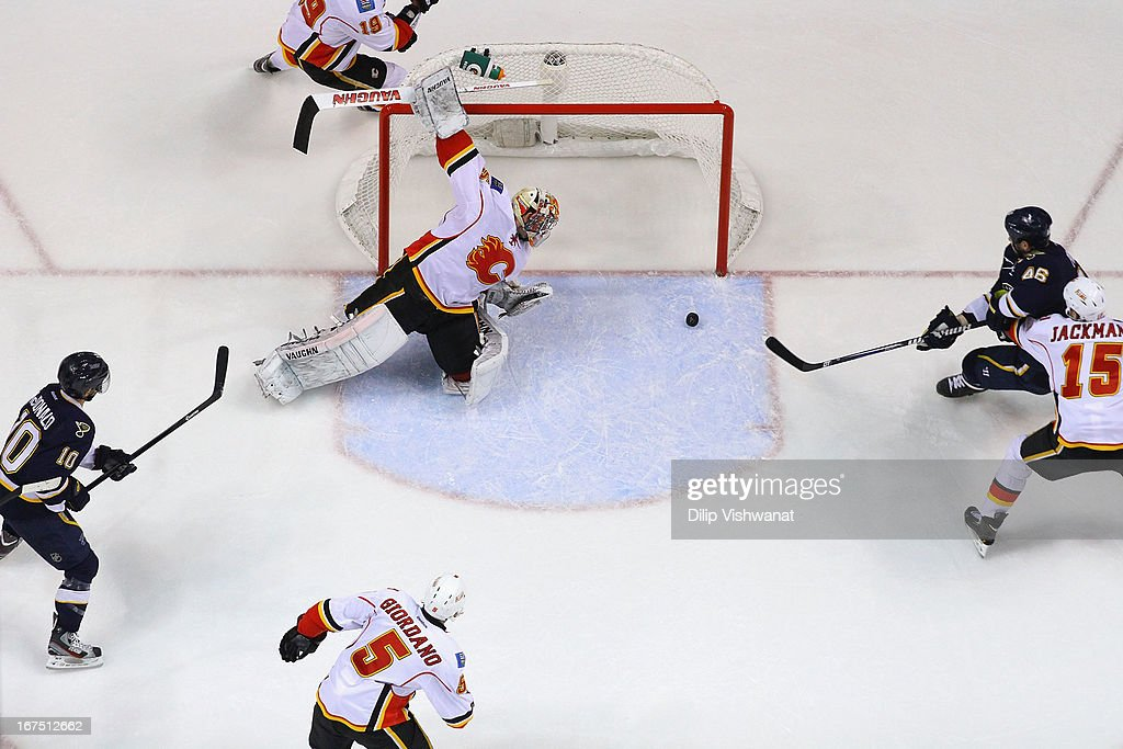 <a gi-track='captionPersonalityLinkClicked' href=/galleries/search?phrase=Joey+MacDonald&family=editorial&specificpeople=2234367 ng-click='$event.stopPropagation()'>Joey MacDonald</a> #35 of the Calgary Flames makes a save against the St. Louis Blues during the first period at the Scottrade Center on April 25, 2013 in St. Louis, Missouri. The Blues beat the Flames 4-1.