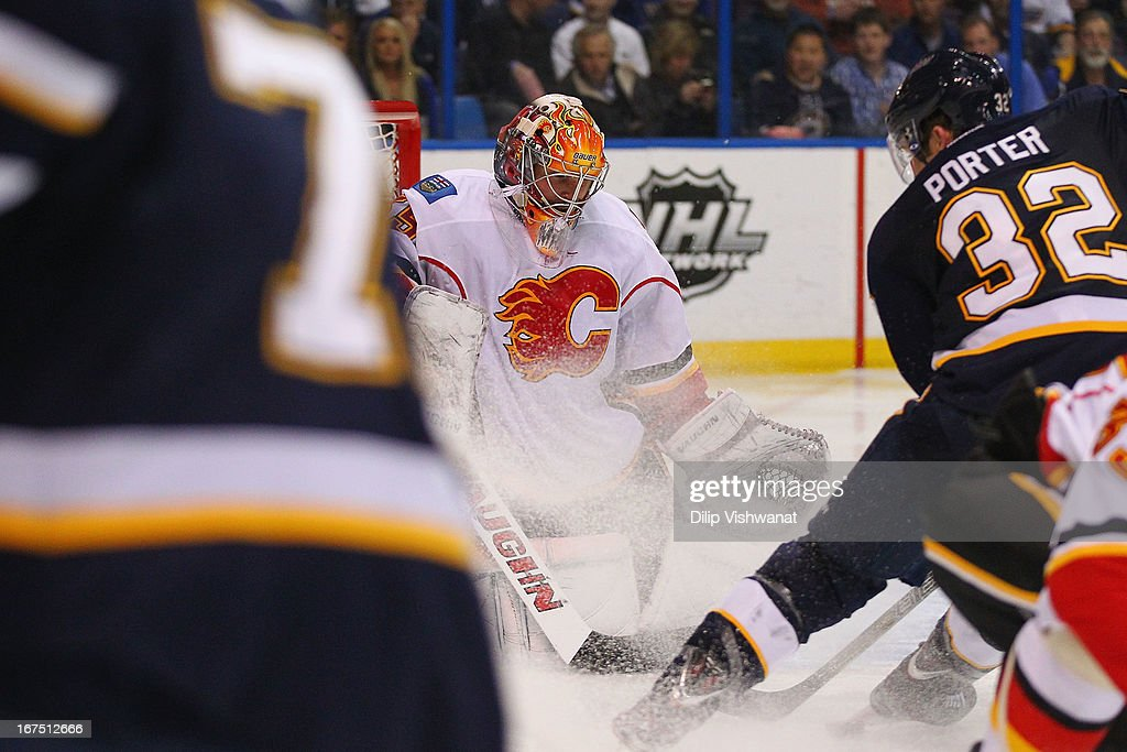 <a gi-track='captionPersonalityLinkClicked' href=/galleries/search?phrase=Joey+MacDonald&family=editorial&specificpeople=2234367 ng-click='$event.stopPropagation()'>Joey MacDonald</a> #35 of the Calgary Flames makes a save against the St. Louis Blues during the third period at the Scottrade Center on April 25, 2013 in St. Louis, Missouri. The Blues beat the Flames 4-1.