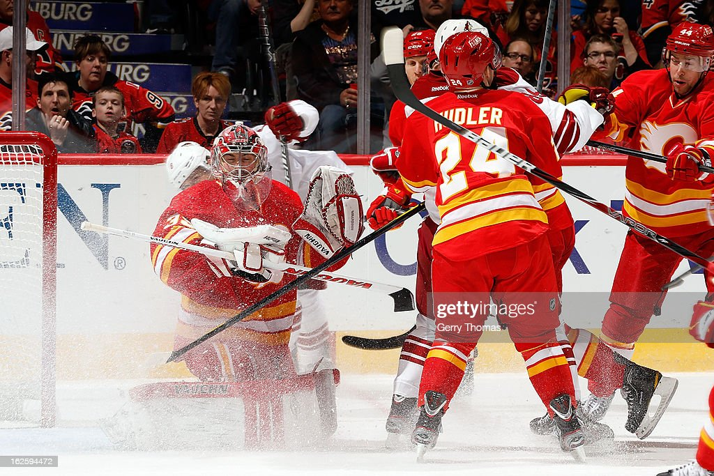 <a gi-track='captionPersonalityLinkClicked' href=/galleries/search?phrase=Joey+MacDonald&family=editorial&specificpeople=2234367 ng-click='$event.stopPropagation()'>Joey MacDonald</a> #35 of the Calgary Flames skates in net against the Phoenix Coyotes on February 24, 2013 at the Scotiabank Saddledome in Calgary, Alberta, Canada.