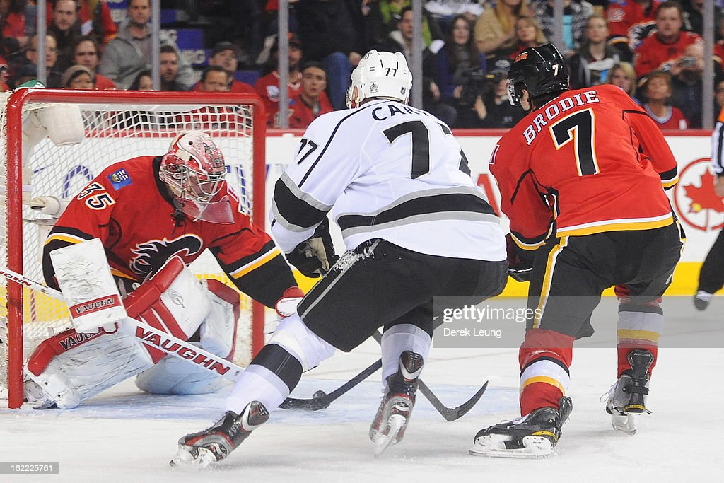 <a gi-track='captionPersonalityLinkClicked' href=/galleries/search?phrase=Joey+MacDonald&family=editorial&specificpeople=2234367 ng-click='$event.stopPropagation()'>Joey MacDonald</a> #35 of the Calgary Flames stops the puck in front of <a gi-track='captionPersonalityLinkClicked' href=/galleries/search?phrase=Jeff+Carter&family=editorial&specificpeople=227320 ng-click='$event.stopPropagation()'>Jeff Carter</a> #77 of the Los Angeles Kings during an NHL game at Scotiabank Saddledome on February 20, 2013 in Calgary, Alberta, Canada.