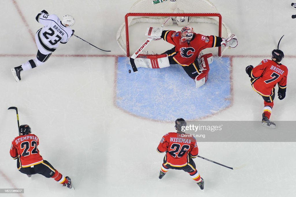 <a gi-track='captionPersonalityLinkClicked' href=/galleries/search?phrase=Joey+MacDonald&family=editorial&specificpeople=2234367 ng-click='$event.stopPropagation()'>Joey MacDonald</a> #35 of the Calgary Flames stops the shot of Dustin Brown #23 of the Los Angeles Kings during an NHL game at Scotiabank Saddledome on February 20, 2013 in Calgary, Alberta, Canada.