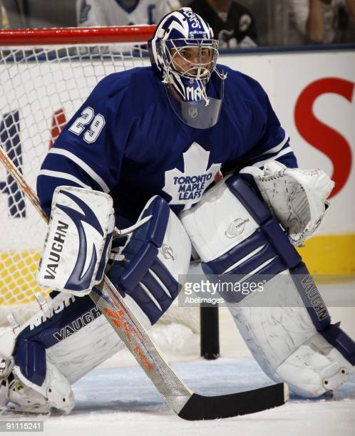 Joey MacDonald of the Toronto Maple Leafs warms up before playing the Pittsburgh Penguins during a preseason NHL game at the Air Canada Centre on...