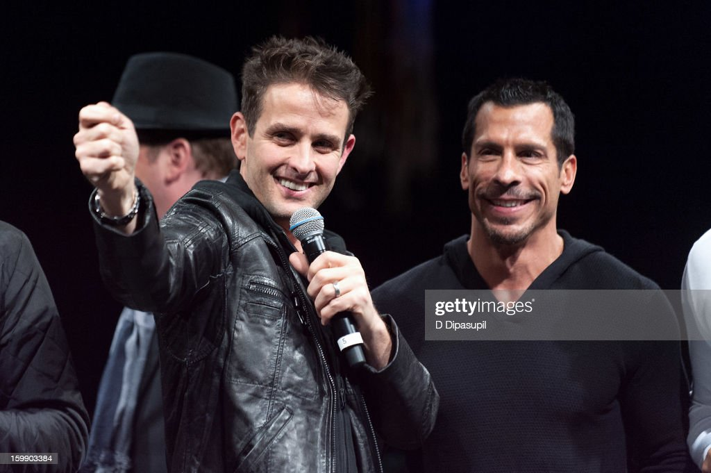 Joey McIntyre (L) and Danny Wood of New Kids on the Block attend the Package Tour Special Announcementat Irving Plaza on January 22, 2013 in New York City.