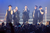 Joey McIntyre Danny Wood Jordan Knight Jonathan Knight and Donnie Wahlberg of New Kids On The Block perform at Hammersmith Apollo on May 27 2014 in...