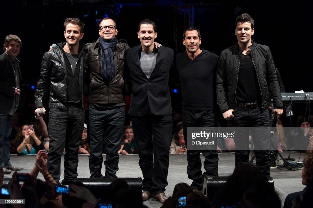 Joey McIntyre, Donnie Wahlberg, Jonathan Knight, Danny Wood, and Jordan Knight of New Kids on the Block attend the Package Tour Special Announcement at Irving Plaza on January 22, 2013 in New York City.